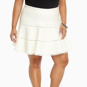 Torrid 0 Flared Knit Skater Skirt Ivory